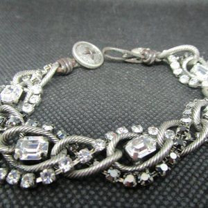 3 for $20 Fossil Crystal and Silver Link Bracelet